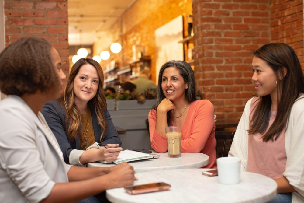 Four women working in a business meeting in a cafe coffee shop. Go to LinkedIn Sales Solutions's profile Avatar of user LinkedIn Sales Solutions LinkedIn Sales Solutions @linkedinsalesnavigator LinkedIn Sales Solutions @linkedinsalesnavigator